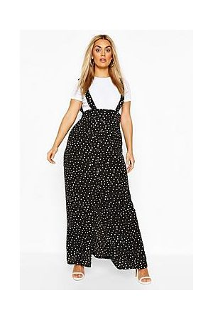 Boohoo Plus Polka Dot Pinafore Maxi Skirt