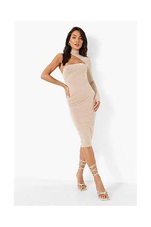 Boohoo Naiset Epäsymmetriset Mekot - Double Slinky Asymmetric Sleeve Midi Dress
