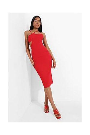 Boohoo Tall Asymmetric Strap Cut Out Midi Dress