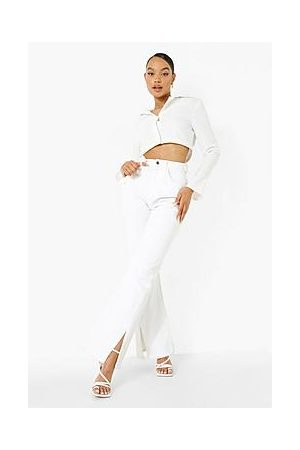 Boohoo High Waist Split Front Stretch Flared Jeans