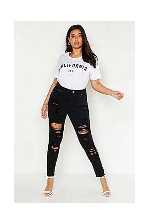 Boohoo Plus Distress High Rise Stretch Skinny Jeans