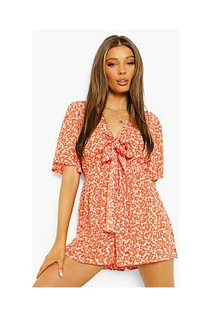 Boohoo Floral Tie Bust Cut Out Playsuit