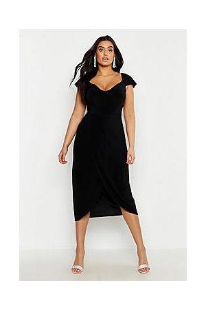Boohoo Plus Slinky Cold Shoulder Wrap Midi Dress