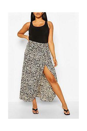 Boohoo Plus Leopard Ruffle Maxi Skirt