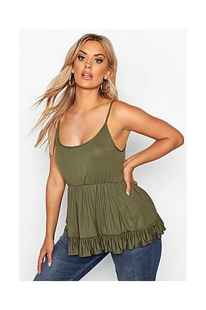 Boohoo Plus Strappy Smock Tiered Cami Top