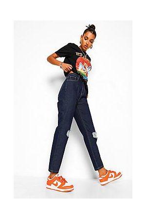 Boohoo High Waist Distressed Mom Jeans