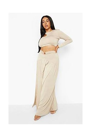 Boohoo Plus O Ring Gathered Split Maxi Skirt
