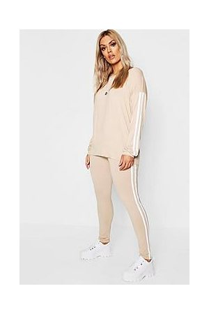 Boohoo Plus Side Stripe Loungewear Set
