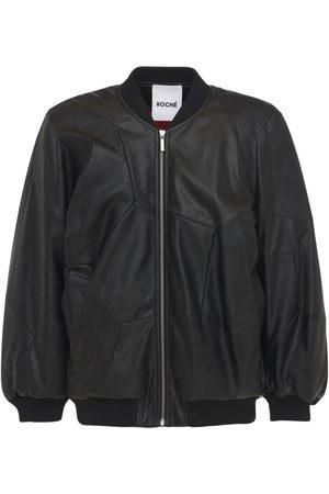 KOCHÉ Faux Leather Padded Bomber Jacket