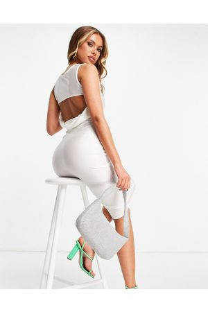 Public Desire Naiset Juhlamekot - Cowl midi dress with strap detail in white