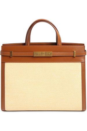 Saint Laurent Naiset Ostoskassit - Small Manhattan Raffia & Leather Bag