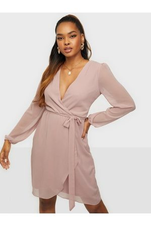 NLY Wrapped Midi Dress Dusty Pink