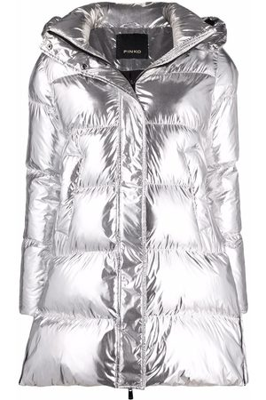 Pinko Naiset Untuvatakit - Metallic puffer jacket