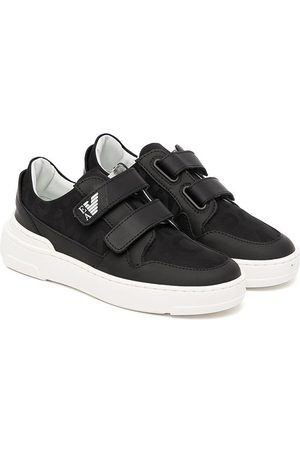 Emporio Armani Tennarit - Leather-trim touch-strap sneakers