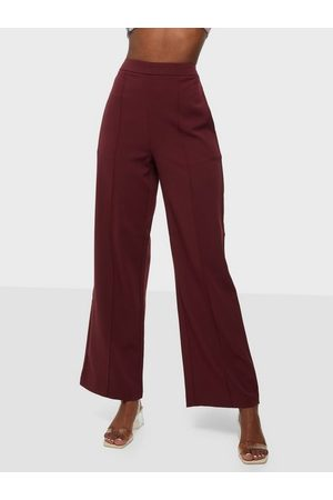 Pieces Naiset Leveälahkeiset - Pcbossy Hw Wide Pants Noos Red Mahogany Cp