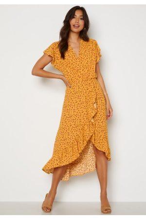 AX Paris Naiset Maksimekot - Wrap Frill High Low Maxi Dress Yellow XS (UK8)