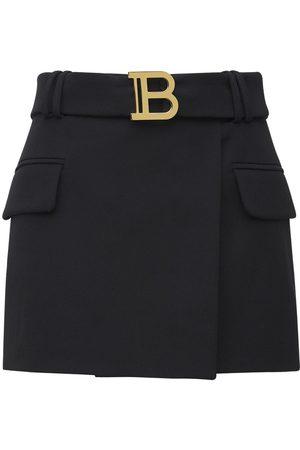 Balmain Low Rise Belted Logo Wool Mini Skirt