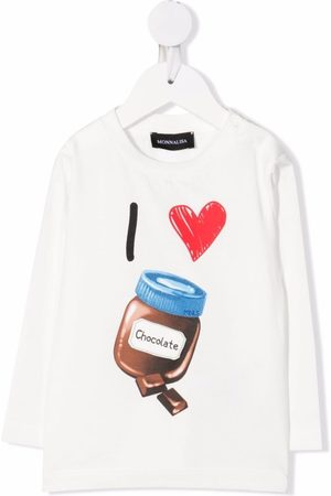 MONNALISA Chocolate cotton long-sleeve top
