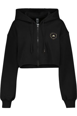 adidas Cotton-blend cropped hoodie