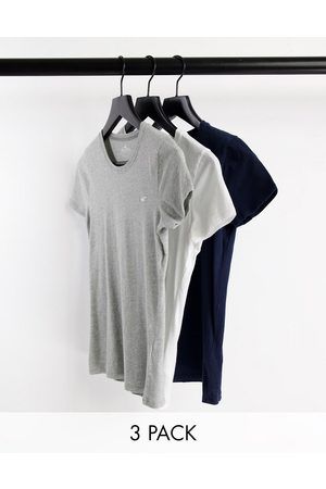 Hollister 3 pack logo crew neck t shirts in multi