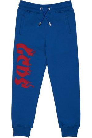 GCDS Pojat Collegehousut - Rubberized Logo Cotton Sweatpants