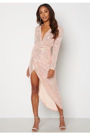 John Zack Sequin Rouch Maxi Dress Blush XS (UK8)