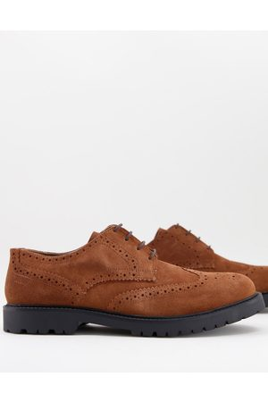 H by Hudson Rivington chunky brogues in tan suede-Brown