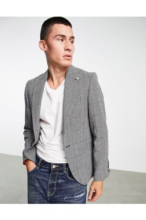 Twisted Tailor Suit jacket in prince of wales check with chain detail-White