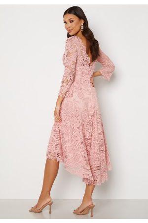 Goddiva Lace High Low Midi Dress Blush XS (UK8)