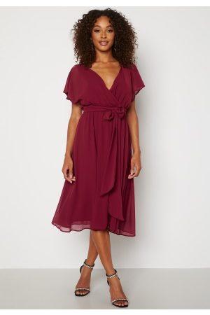 Goddiva Flutter Chiffon Dress Berry XS (UK8)