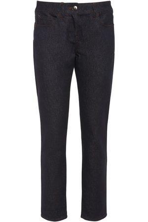Max Mara Naiset Kapeat - Cotton Denim Cropped Skinny Pants