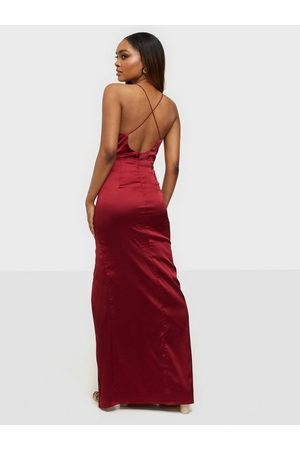 NLY Waterfall Slit Gown Burgundy