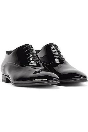 HUGO BOSS Patent leather Oxford shoes with grosgrain collar piping
