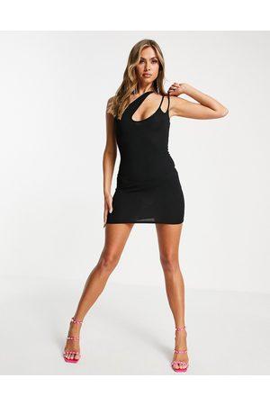 Public Desire Naiset Epäsymmetriset Mekot - Asymmetric cut out mini dress in black