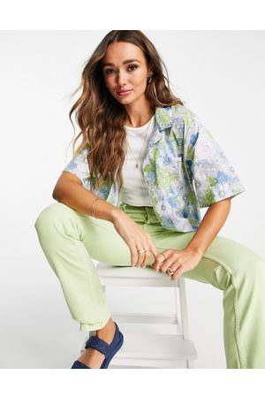MANGO Naiset T-paidat - Short sleeve bowling shirt co-ord in green floral-Multi