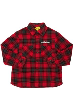 OFF-WHITE KIDS Logo Check Cotton Flannel Shirt