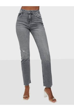 Pieces Pceda Hw Straight Jeans Grey Bc
