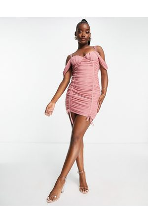 Saint Genies Ruched off the shoulder mini dress in blush-Pink