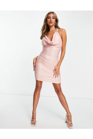 Saint Genies Slinky cowl neck dress with chain detail in pink