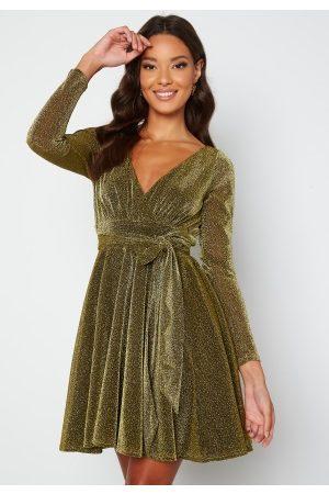 Goddiva Long Sleeve Glitter Skater Dress Gold XS (UK8)