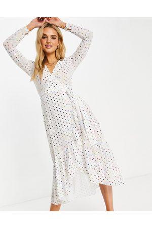 Never Fully Dressed Naiset Midimekot - Tie wrap midi dress in white metallic rainbow spot