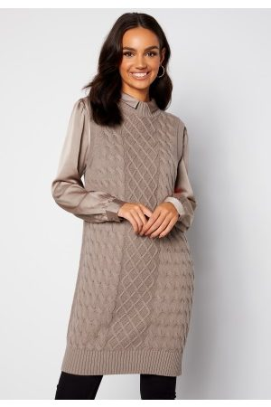 VILA Zuri Cable S/L Knit Vest Dress Fungi S