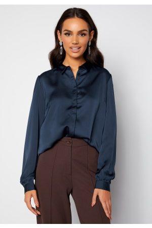VILA Ellette Satin L/S Shirt Navy Blazer 38