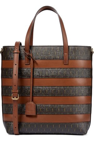 Saint Laurent Shopping Toy logo striped tote