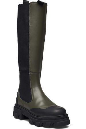 Ganni Calf Leather Korkeavartiset Saapikkaat Vihreä