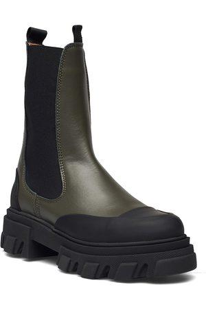 Ganni Calf Leather Shoes Chelsea Boots Vihreä