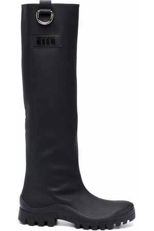 Msgm Logo-patch knee-length boots