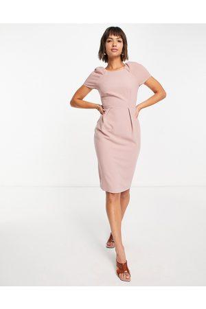closet london Cap sleeve woven pencil dress in dusky rose-Pink
