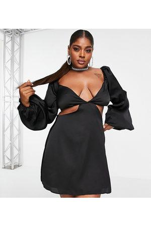 In The Style Naiset Rennot Mekot - X Yasmin Chanel satin cut out volume sleeve skater dress in black