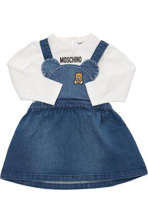 MOSCHINO Printed Cotton T-shirt & Denim Dress